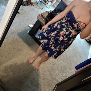 Strapless Navy Floral Dress